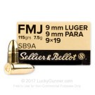 9mm - 115 Grain FMJ - Sellier & Bellot - 1000 Rounds