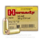 50 Action Express - 300 Grain  XTP JHP - Hornady Custom - 200 Rounds
