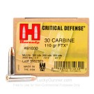 30 Carbine - 110 Grain FTX JHP - Hornady Critical Defense - 25 Rounds
