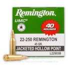 22-250 - 45 Grain JHP - Remington UMC Value Pack - 40 Rounds
