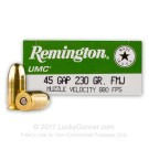 45 GAP - 230 Grain MC - Remington UMC - 50 Rounds