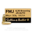 25 ACP - 50 Grain FMJ - Sellier & Bellot - 50 Rounds