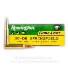 30-06 - 180 Grain PSP - Remington Core-Lokt - 20 Rounds