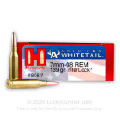 7mm-08 Rem - 139 Grain InterLock SP - Hornady American Whitetail - 20 Rounds