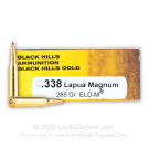 338 Lapua Mag - 285 Grain ELD Match - Black Hills Gold - 20 Rounds