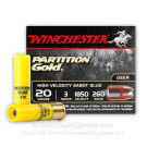 "20 Gauge - 3"" Partition Gold 260gr Sabot Slug - Winchester - 5 Rounds"
