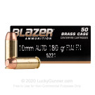 10mm Auto - 180 Grain FMJ - Blazer Brass - 50 Rounds