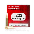 223 Remington – 36 Grain Barnes Varmint Grenade HP - Black Hills - 50 Rounds