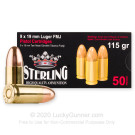 9mm - 115 Grain FMJ - Sterling - 50 Rounds