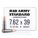 7.62x39 - 122 Grain FMJ - Red Army Standard - 20 Rounds