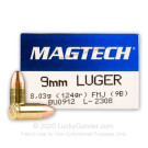 9mm - 124 Grain FMJ - Magtech - 50 Rounds