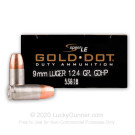 9mm - 124 Grain JHP - Speer Gold Dot LE - 50 Rounds