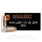 9mm - 124 Grain JHP - Speer Gold Dot LE - 50 Rounds