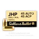 45 ACP - 230 Grain JHP - Sellier & Bellot - 50 Rounds