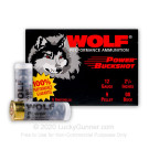 "12 Gauge - 2-3/4"" 9 Pellets 00 Buck - Wolf - 100 Rounds"