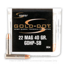 22 WMR - 40 gr JHP - Speer Gold Dot - Short Barrel - 50 Rounds