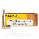 25-06 Rem - 100 Grain Barnes TSX - Black Hills Gold - 20 Rounds
