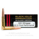 300 AAC Blackout - 198 Grain Dual Performance - Black Hills Subsonic - 20 Rounds
