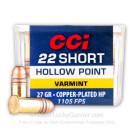 22 Short - 27 Grain CPHP - CCI Short - High Velocity - 100 Rounds