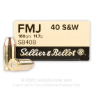 40 S&W - 180 Grain FMJ - Sellier & Bellot - 50 Rounds