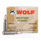 308 - 168 Grain SP - Wolf Military Classic - 20 Rounds