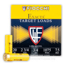 "20 Gauge - 2-3/4"" 3/4 oz #7.5 Low Recoil Target Load - Fiocchi - 25 Rounds"