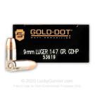 9mm - 147 Grain JHP - Speer Gold Dot LE - 50 Rounds