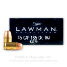 45 GAP - 185 gr TMJ - Speer Lawman - 50 Rounds