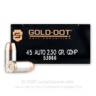 45 ACP - 230 Grain JHP - Speer Gold Dot LE - 1000 Rounds