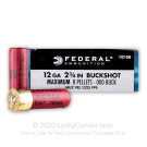 """12 Gauge - 2-3/4"""" Power-Shok 000 Buck - Federal - 250 Rounds"""