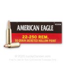 22-250 Rem - 50 Grain JHP -  Federal American Eagle - 20 Rounds