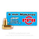 9x18 Makarov - 95gr JHP - Prvi Partizan - 50 Rounds