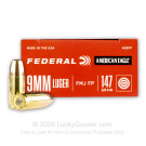 9mm - 147 Grain FMJ FN - Federal American Eagle - 50 Rounds