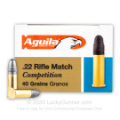 22 LR - 40 Grain LRN - Aguila Rifle Match Competition - 5000 Rounds