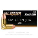 9mm - 124 Grain FMJ - Blazer Brass  - 1000 Rounds