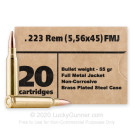 223 Rem - 55 Grain FMJ - Barnaul - 500 Rounds **STEEL CASES**