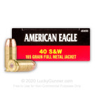 40 S&W - 165 Grain FMJ - Federal American Eagle - 1000 Rounds
