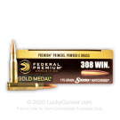 308 - 175 Grain HP-BT - Federal Premium Sierra Match King Gold Medal - 200 Rounds