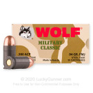 380 Auto - 94 Grain FMJ - Wolf Military Classic - 50 Rounds
