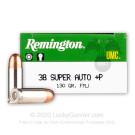 38 Super - +P 130 Grain MC - Remington UMC - 50 Rounds