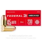 45 ACP - 230 Grain FMJ - Federal American Eagle - 50 Rounds