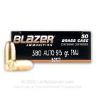 380 Auto - 95 Grain FMJ - Blazer Brass - 50 Rounds