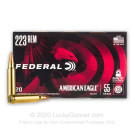 223 Rem - 55 Grain FMJBT - Federal American Eagle Lead-Free Primer - 20 Rounds