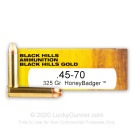 45-70 Government - 325 Grain HoneyBadger - Black Hills Gold - 20 Rounds
