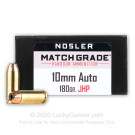 10mm Auto - 180 Grain JHP - Nosler Match Grade - 20 Rounds