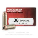 38 Special - +P 125 Grain JHP - Black Hills Ammunition - 50 Rounds
