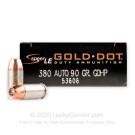380 Auto - 90 Grain JHP - Speer Gold Dot - 1000 Rounds