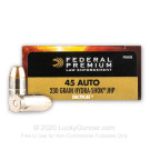 45 ACP - 230 Grain Hydra Shok JHP - Federal Premium - 1000 Rounds