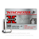 38 Special - +P 158 Grain Lead Semi-Wadcutter HP - Winchester Super-X - 50 Rounds