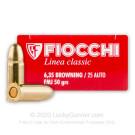25 ACP - 50 Grain FMJ - Fiocchi - 50 Rounds